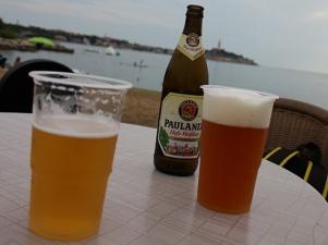 Croatia-Biondi-Beach-with-view-of-Rovinj