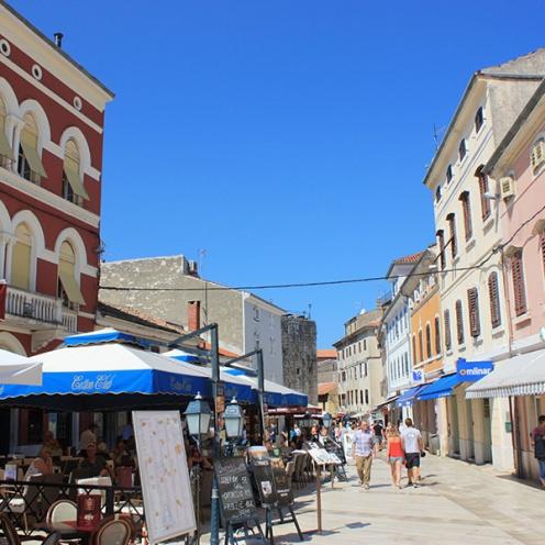 Main street Decumanus in Porec, Croatia