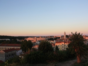 Croatia-Pula-view-of-the-old-town-from-the-castlen-at-sunset