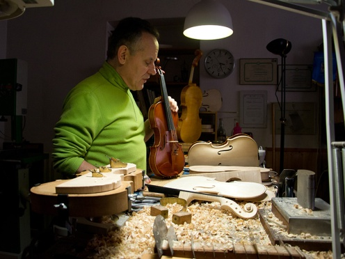 Luthier Philippe in his workshop in Cremona