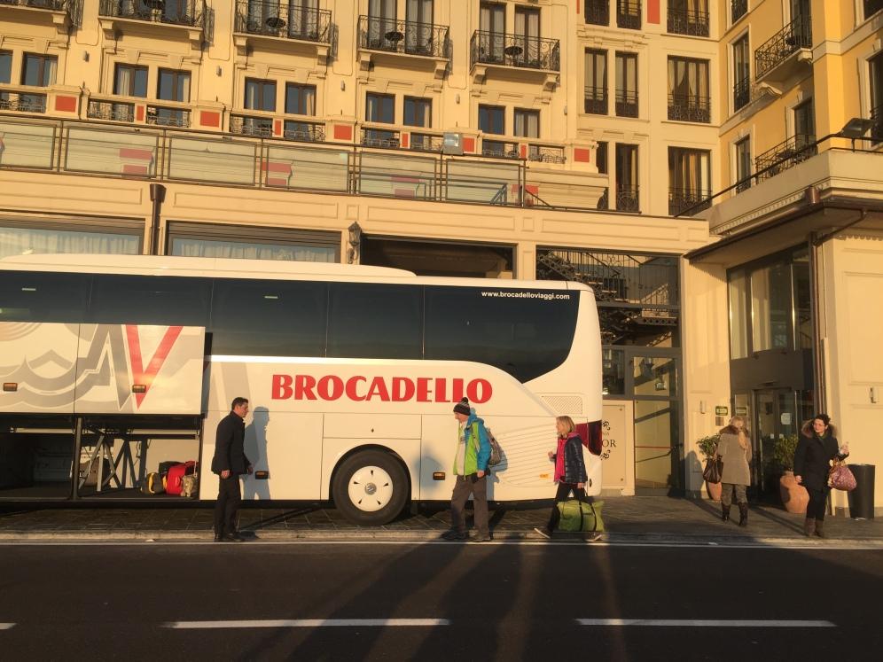 Coach in front of Hotel Britannia