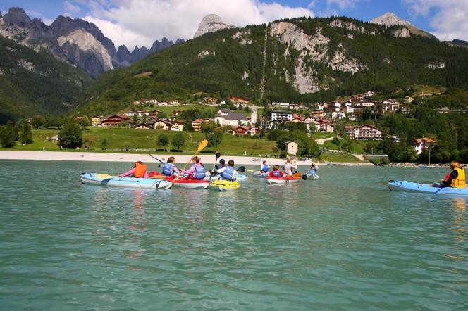 Canoying on Lake Molveno