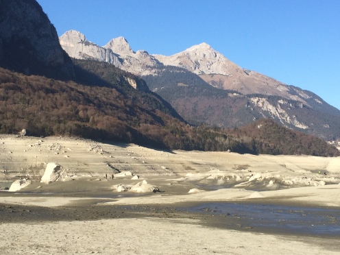 Dried up seabed of Lake Molveno