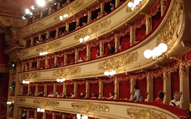 Interior view of the Teatro alla Scala