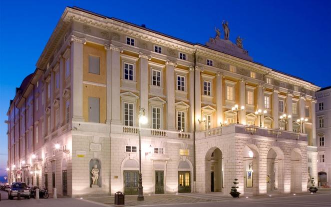 Exterior view of the Teatro Verdi in Trieste, Italy